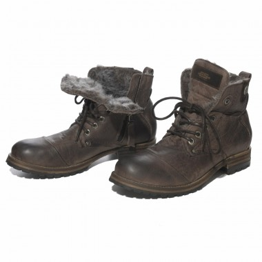 BOOT02 SYNTHETIC FUR LINED BIKER BOOT