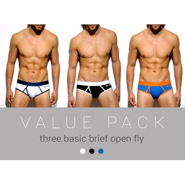 UN156P THREE PACK BASIC BRIEF OPEN FLY