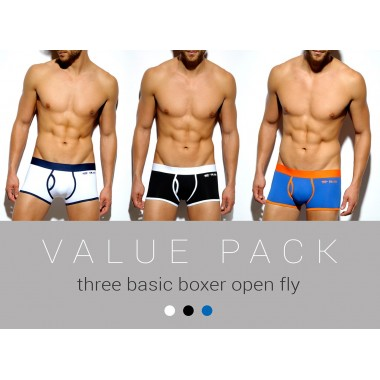 UN157P THREE PACK BASIC BOXER OPEN FLY