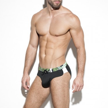 1913 LEAVES DOUBLE SIDE SWIM BRIEF