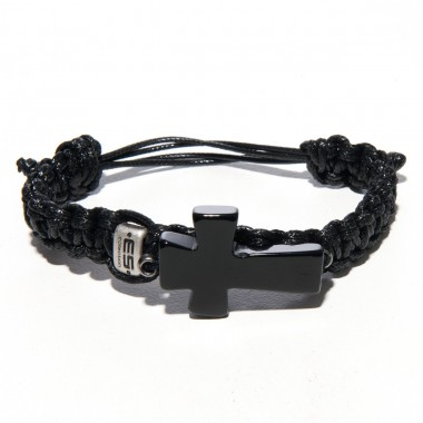 AC56 BLACK THREAD & CROSS BRACELET