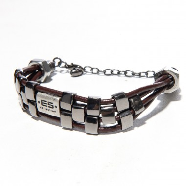 AC057 METAL & BROWN THREAD BRACELET